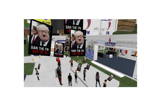 Manif anti-FN sur Second Life