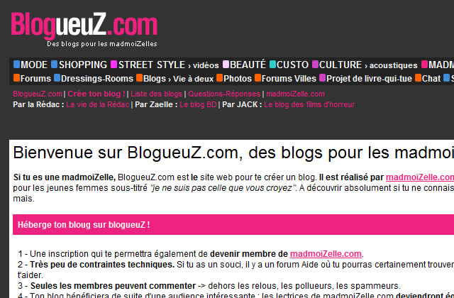 BlogueuZ.com : le premier hébergeur de blogs de filles