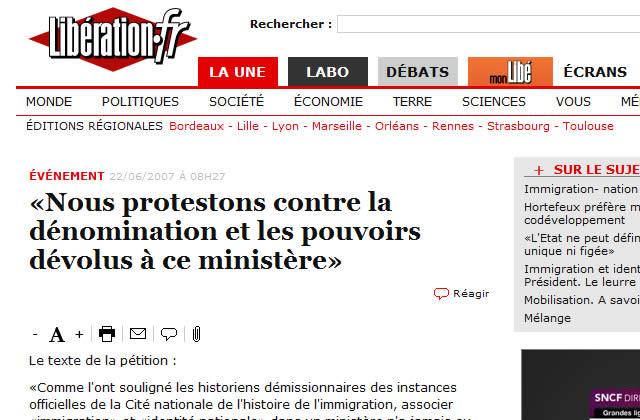 200 personnalités contre l'appellation du ministère de l'identité nationale et de l'immigration
