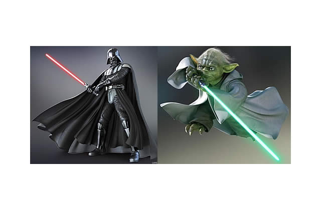 Yoda et Dark Vador dans Soul Calibur 4
