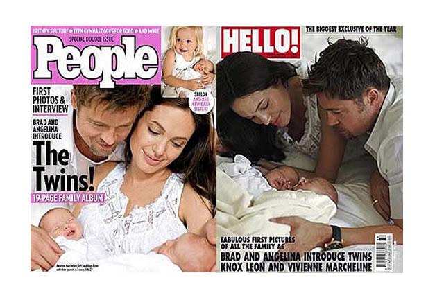 Les photos des jumeaux Pitt-Jolie dans la presse
