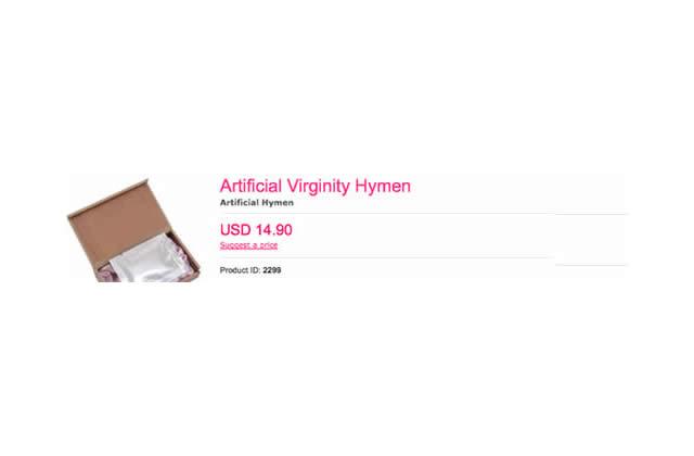 L'hymen artificiel : 800 grammes de virginité pour 14,90$