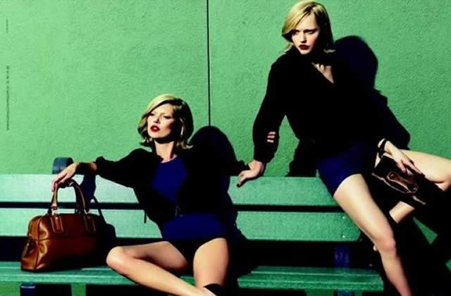 Kate Moss et Sasha Pivovarova posent pour Longchamp