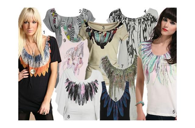 T-shirts à plumes