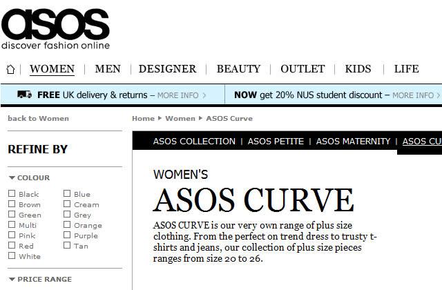 Un rayon pour les rondes en question chez Asos.com