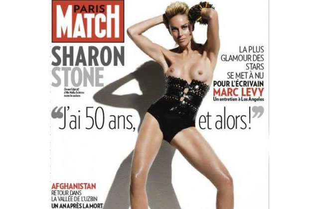 Sharon Stone topless en une de Paris Match