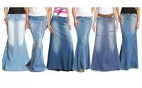Les longues jupes en jean de Mango