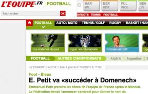 Lien permanent vers E. Petit va «succéder à Domenech» : un poisson d'avril ou bien ?