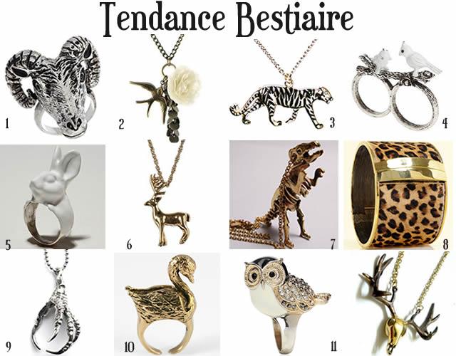 tendances bijoux 2010 2011 bestiaire
