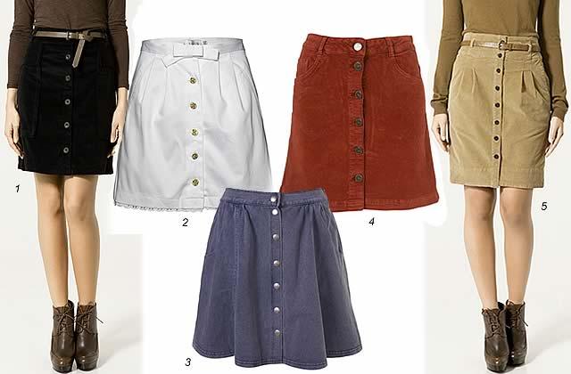 La jupe boutonnée, une tendance printemps 2011