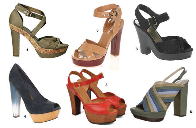 chaussures talons épais Talons carrés et platform shoes, un mélange épais