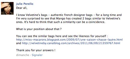 mango sujet forum Mango vs Velvetine : retour sur un BAD BUZZ