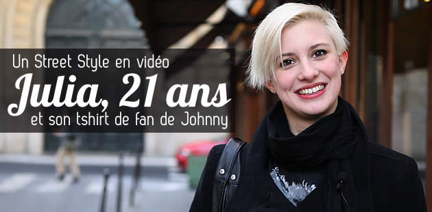 Street Style   Julia et son tshirt de fan de Johnny big street style julia