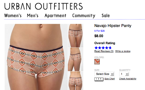 Urban Outfitters retire le terme Navajo  2011 10 Urban Outfitters Navajo Hipster Panty