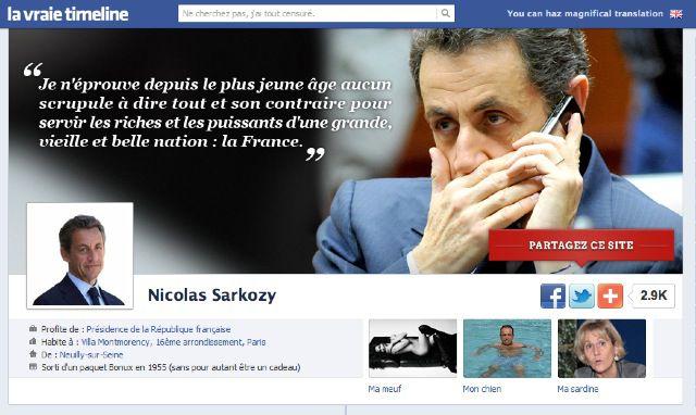 Lavraietimeline.fr, site parodique de la page Facebook de Sarkozy Sarkozy1