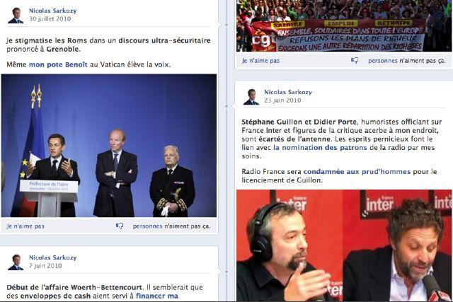 Lavraietimeline.fr, site parodique de la page Facebook de Sarkozy Timeline1