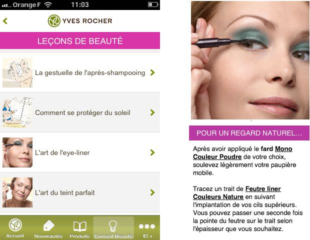 Yves Rocher lance une application iPhone appli3