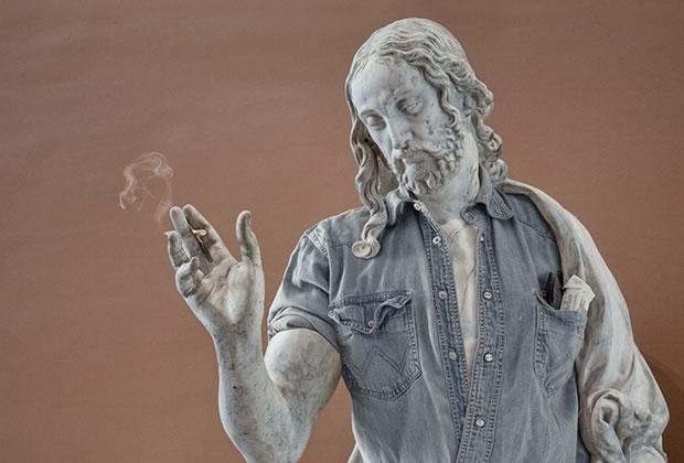 sculptures loiuvre hipster2 Un graphiste hipsterise les statues du Louvre