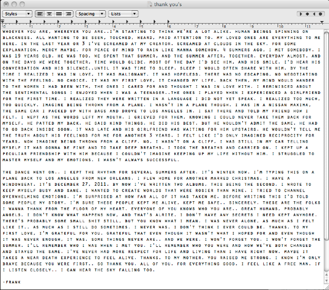 Frank Ocean Fait Son Coming Out Dans Une Très Belle Lettre