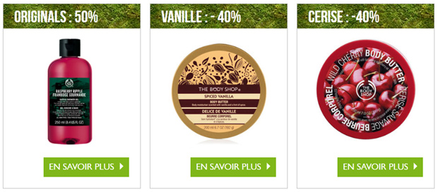 Bonnes affaires Body Shop Ventes privées The Body Shop : cest parti !