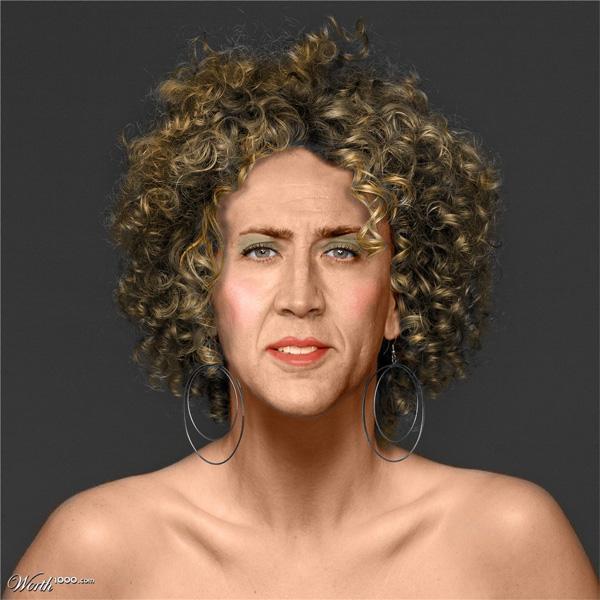 nicolecage Des célébrités masculines transformées en femmes