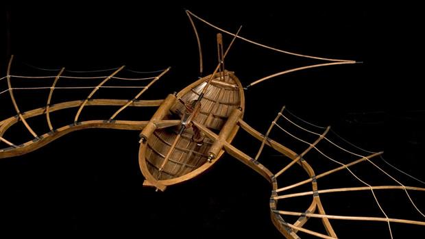 vaisseauvolantdevinci Léonard de Vinci, projets, dessins, machines à la Cité des Sciences