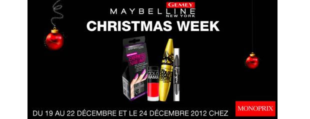 Des séances make up et des réductions à la Christmas Week Monoprix Gemey Maybelline gemey