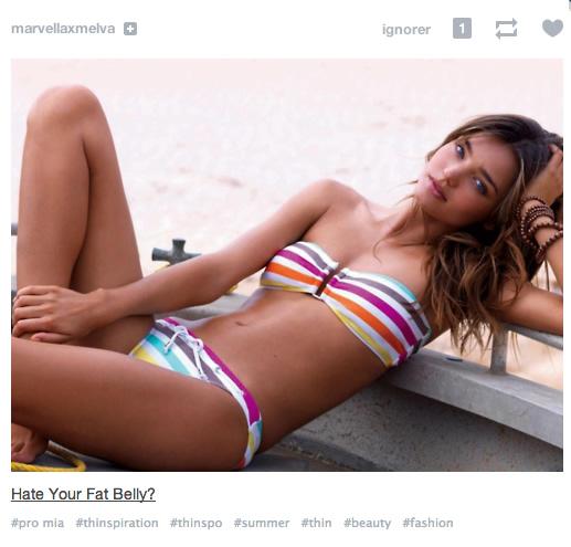miranda kerr pub  Tumblr : des produits minceur font leur pub sur les tags anorexiques