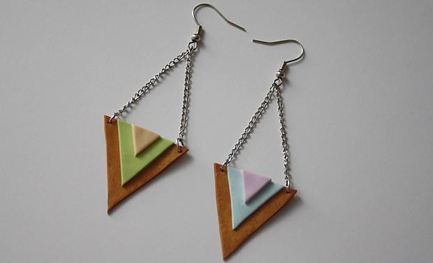 tutoBO5 Tuto   Des boucles doreilles triangles aux couleurs toutes douces
