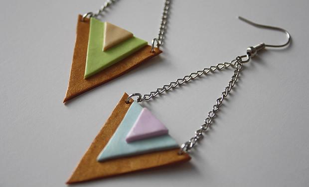 Tuto   Des boucles doreilles triangles aux couleurs toutes douces tutoBO6