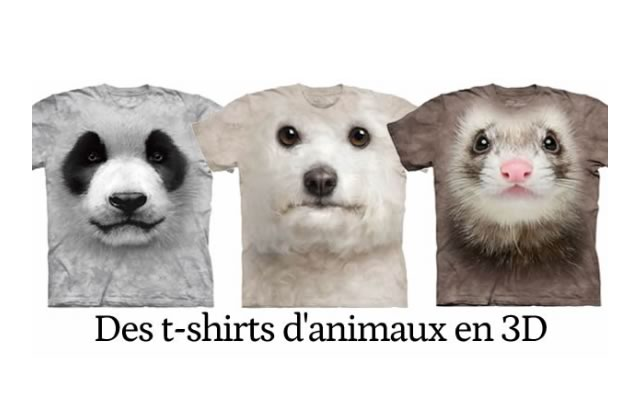 Des t-shirts 3D d'animaux