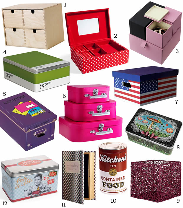 S lection d co bo tes de rangement color es for Decoration boite carton