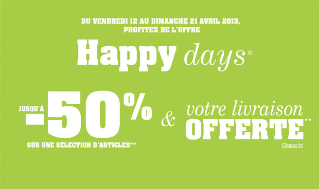 Happy Days Somewhere Soldes et promos de printemps !