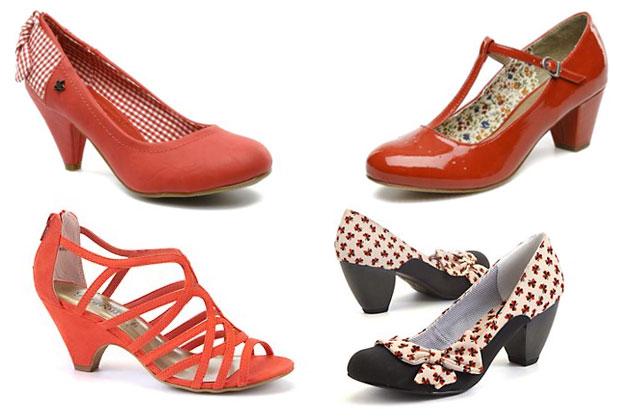 Escarpins à noeud et carreaux Sarenza (35,00\u20ac), babies rouges vernies  Sarenza (39,99\u20ac), sandales à brides corail New Look (19,99\u20ac), escarpins à  noeuds