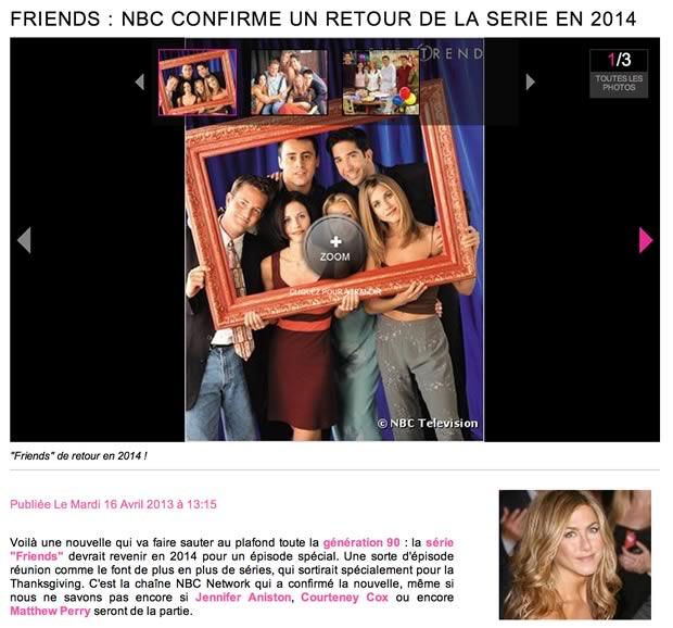 Friends de retour pour une nouvelle saison en 2014 ? NON. friends puretrend