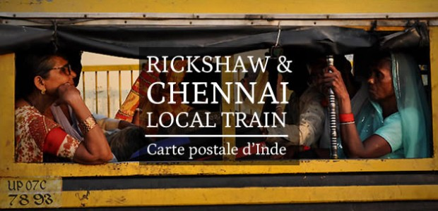 Rickshaw et Chennai Local Train – Carte postale d'Inde