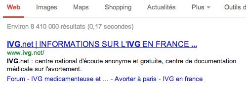 ivg premiere position google On a testé pour vous la nouvelle stratégie des anti IVG (màj)