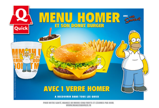 menuhomer Quick lance un donut burger Simpsons