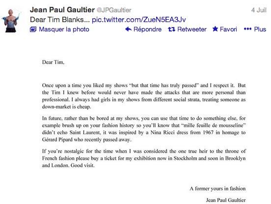 lettre JPG Nabilla défile pour Jean Paul Gaultier : le couturier répond
