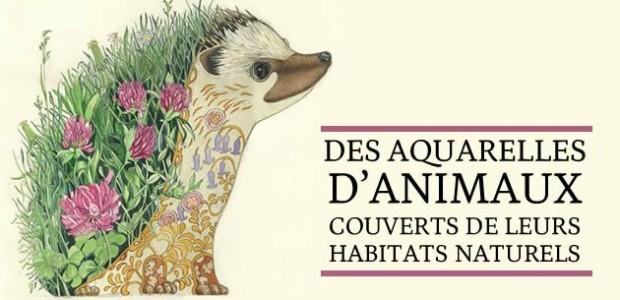 Des aquarelles d'animaux couverts de leurs habitats naturels