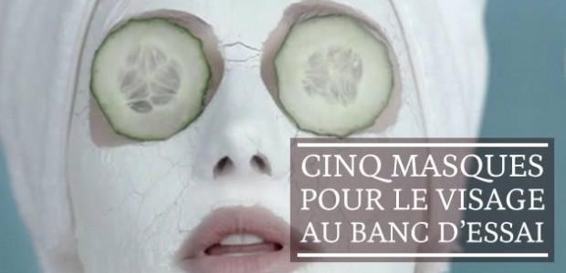 Cinq masques pour le visage au banc d'essai