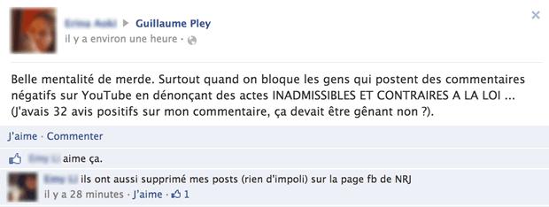censure commentaires fb Guillaume Pley, lagresseur aux millions de vues (màj   sa réponse)