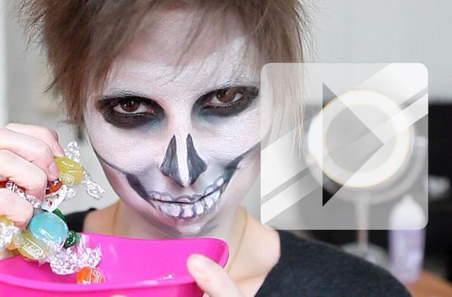 Maquillage halloween la t te de mort - Tuto maquillage halloween ...