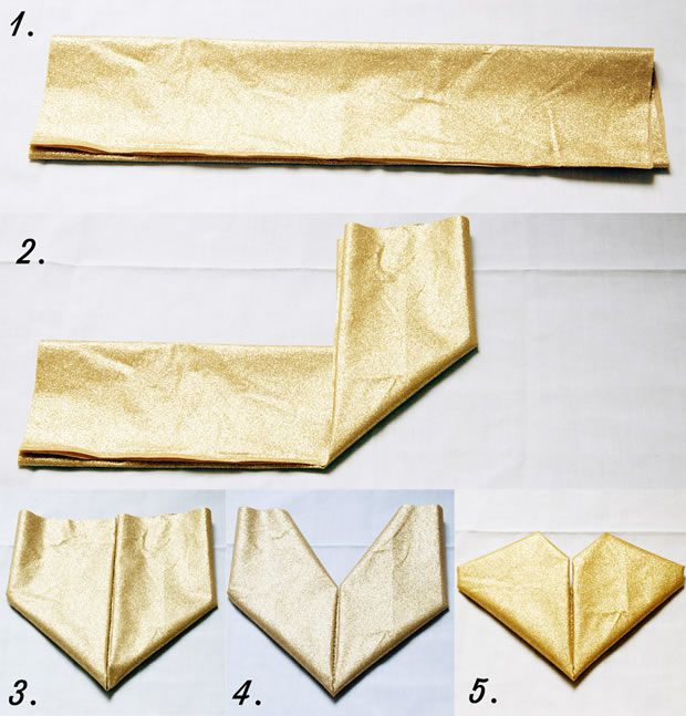 Diy trois pliages de serviettes un peu kitsch pour les f tes - Serviette pliage coeur ...