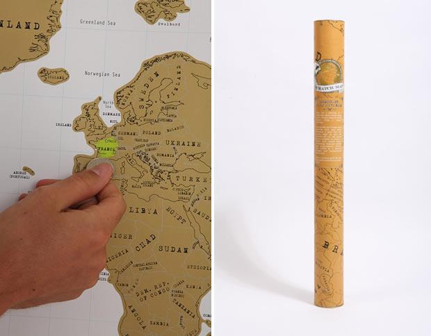 La carte du monde à gratter — Idée cadeau cool scratch map