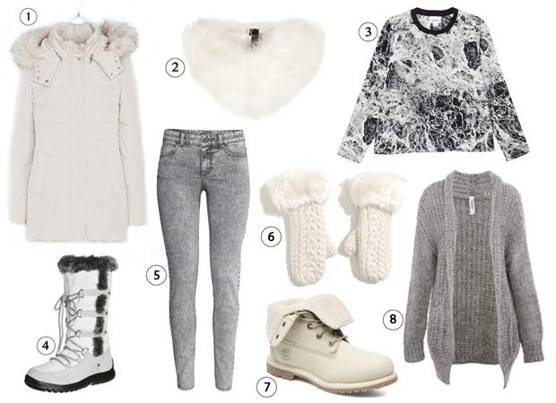 4) bottes de neige Anna Field (50€), 5) jean gris chiné H&M (19,95€), 6) moufles en maille Pimkie (9,99€), 7) bottines fourrées Timberland (175€),