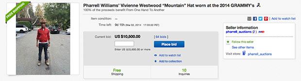 Pharrell vend son chapeau des Grammy Awards 2014 sur eBay pharellhatebay