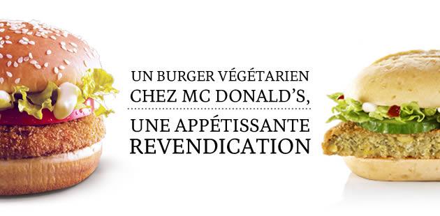 Un burger végétarien chez Mc Donald's, une appétissante revendication