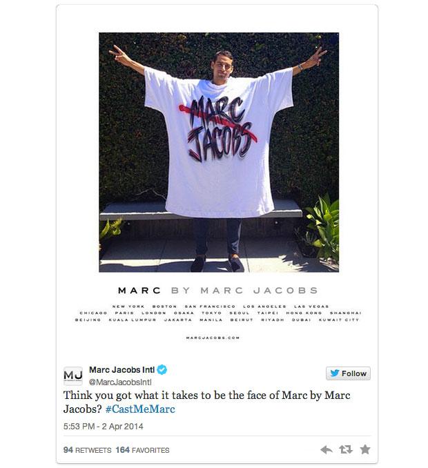 marc jacobs Marc Jacobs cherche sa future égérie sur Twitter