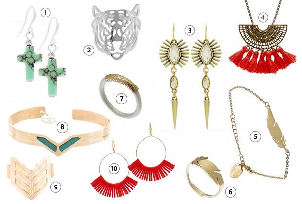 84fa8fbbd30a54 ... 2) bague tête de tigre Zag (16,10€), 3) boucles d oreilles pendantes  A C (57,20€), 4) collier à pompon Constance L (55€), 5) bracelet plume Zag  Bijoux ...